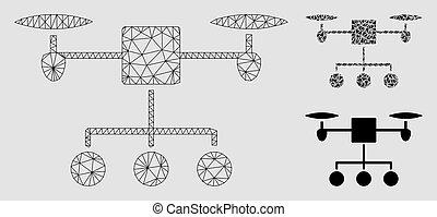 triangle, réseau, maille, bourdon, vecteur, modèle, distribution, mosaïque, icône