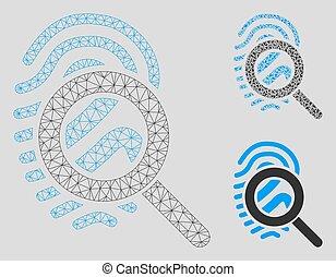triangle, réseau, maille, explorer, vecteur, empreinte doigt, modèle, mosaïque, icône