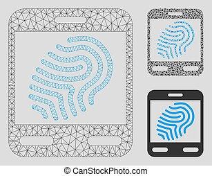 triangle, réseau, maille, vecteur, prend empreintes digitales dispositif balayage, modèle, mosaïque, icône