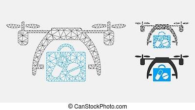 triangle, réseau, monde médical, maille, bourdon, vecteur, modèle, mosaïque, icône
