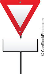 triangle, signe, bas, dessus, vide, trafic, rouges