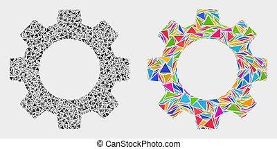 triangles, vecteur, engrenage, mosaïque, icône