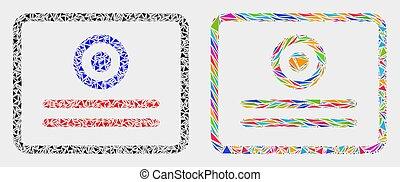 triangles, vecteur, mosaïque, certificat, icône