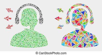 triangles, vecteur, parler, opérateur, mosaïque, icône