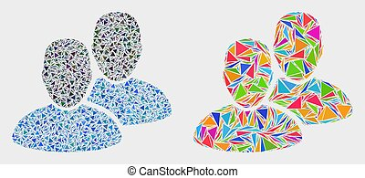triangles, vecteur, utilisateurs, mosaïque, icône