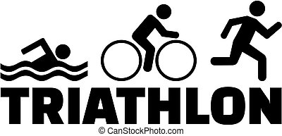 triathlon, courant, natation, vélo, pictogramme