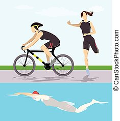 triathlon, course, illustration.