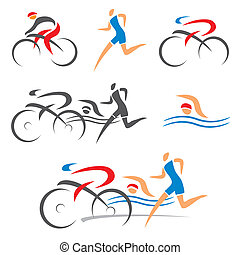 triathlon, fitness, cyclisme, icônes