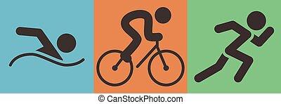 triathlon, sport, icône