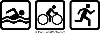 triathlon, triple, vélo, nager, course