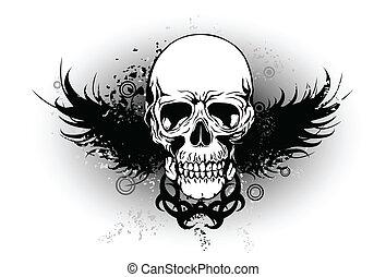 tribal, aile, crâne