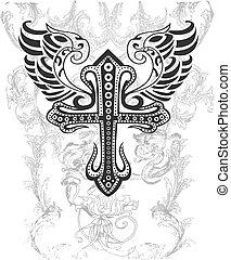 tribal, croix, illustration, aile