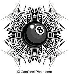 tribal, graphique, huit, billard, balle