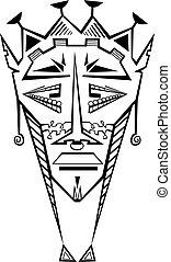 tribal, masque décoratif, isolé, illustration