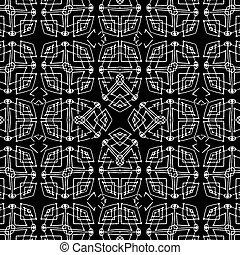 tribal, noir, modèle, géométrique, blanc