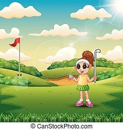 tribunal, girl, golf, jouer