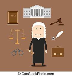 tribunal, icônes, justice, juge