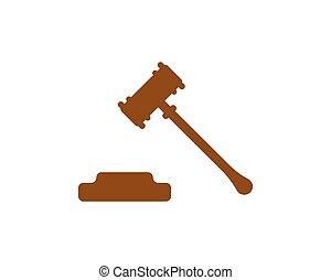 tribunal, illustration, vecteur, conception, martelez icône