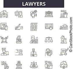 tribunal, juge, illustration:, justice, droit & loi, ensemble, contour, concept, marteau, avocats, légal, vector., ligne, avocat, signes, icônes