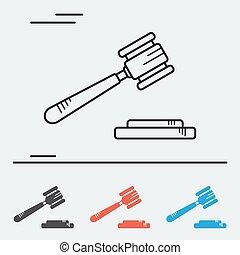 tribunal, ligne, martelez icône