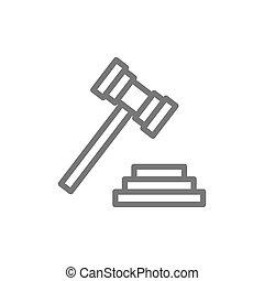 tribunal, marteau, enchère, ou, juge, marteau, icon., ligne