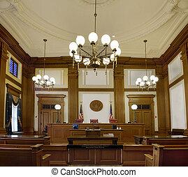tribunal, orégon, en ville, pionnier, salle audience, portland