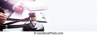 tribunal, stéthoscope, son, bloc, sur, maillet