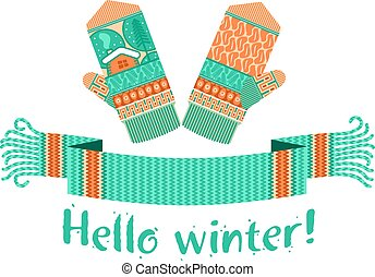 tricoté, hiver, écharpe, moufle