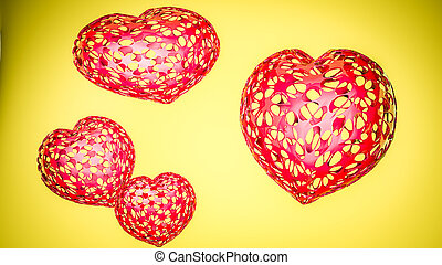 tridimensionnel, arrière-plan., jaune, rendre, cœurs, modèle, 3d