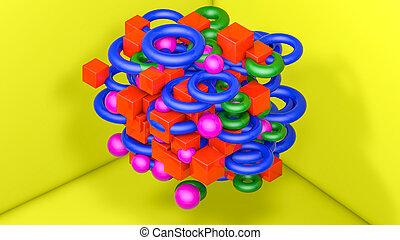 tridimensionnel, arrière-plan., jaune, rendre, figures, 3d