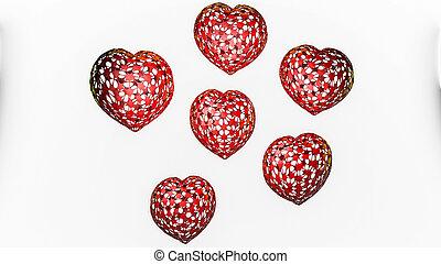 tridimensionnel, arrière-plan., rendre, cœurs, modèle, blanc, 3d