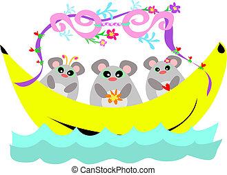 trio, souris, bateau, banane