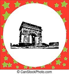 triomphe, arc, paris, de, isolé, illustration, france, vecteur, arrière-plan noir, blanc, 8-bit