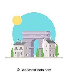 triomphe, plat, de, france, arc, conception, village