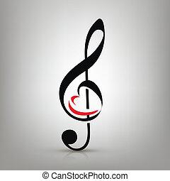 triple, amour, concept, illustration, musique, forme coeur, clef