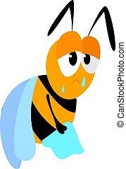 triste, blanc, arrière-plan., vecteur, illustration, abeille