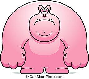 triste, dessin animé, cochon