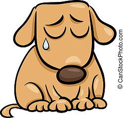 triste, dessin animé, illustration, chien