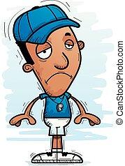 triste, entraîneur, noir, dessin animé, homme