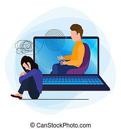 triste, genoux, confondu, elle, ligne, psychologist., ordinateur portable, psychologique, helpline., déprimé, étreint, jeune, aide, tête, unhappily., conversation, girl, assied, femme, pensées
