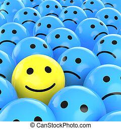triste, heureux, entre, ceux, smiley