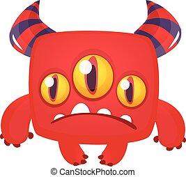 triste, illustration, monster., halloween, vecteur, dessin animé