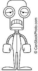 triste, pyjamas, robot, dessin animé