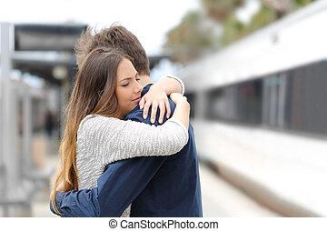 triste, revoir, avant, voyage, proverbe, couple