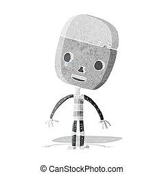 triste, robot, dessin animé