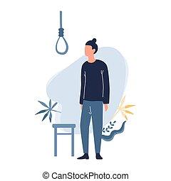 triste, suicide., homme, penser, type, sur, déprimé