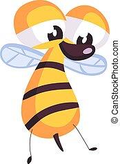 triste, vecteur, abeille, blanc, arrière-plan., illustration