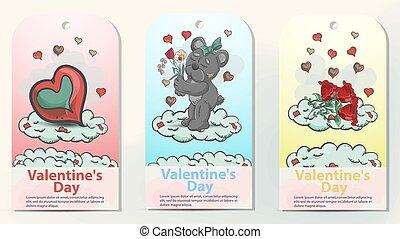 trois, carte, bouquet, localisé, jour, conception, teddy, coeur, fleurs, dispositions, jouet, style, griffonnage, ours, valentines, nuages, childrens, illustration, roses