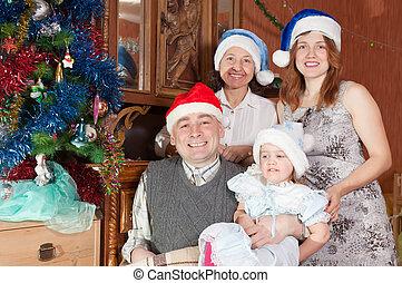 trois, chapeaux, noël famille, heureux, générations