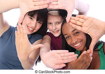 trois, culture, étudiant, ethnique, amusement, amis fille